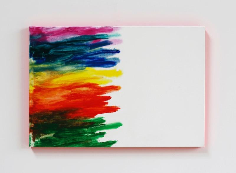 Claude Tétot, Sans titre, 2019  Huile sur toile et acrylique fluorescent sur le bord, 55 x 80 cm