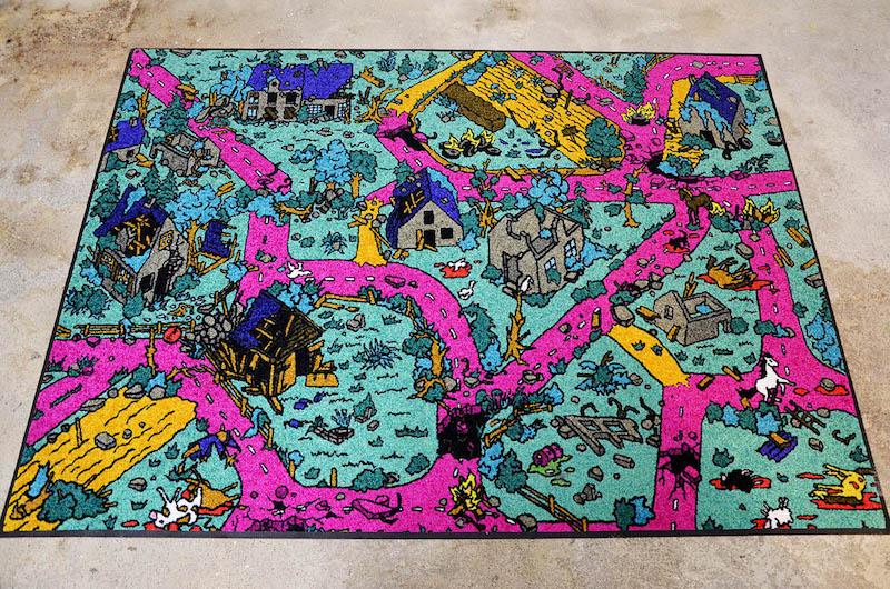 """Marie Havel, """"Tapis de jeux, 3"""", impression sur tapis, 150x200 cm, pièce unique, 2019"""