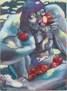 Fleur Helluin, Herakles Eating the Apples, 2019. gouache, 52 x 61 cm