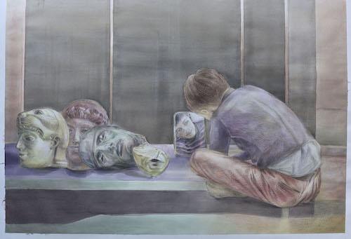 Iris Levasseur, Le Temps qu'il reste, 2019, pierre noire et aquarelle, 150 x 105,5cm. Courtesy de l'artiste et de la galerie Odile Ouizeman