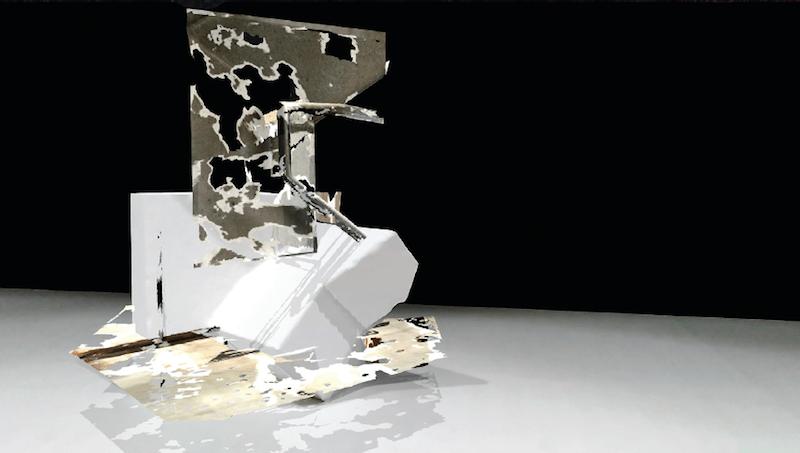 Marie Lelouche, Blind Sculpture, Polystyrène haute densité fraisé numériquement, Téléphones et casques pour réalité mixte, 70m2 x 3 m. Une production Le Fresnoy, en partenariat avec Wosomtech. marie lelouche © ADAGP- 2017