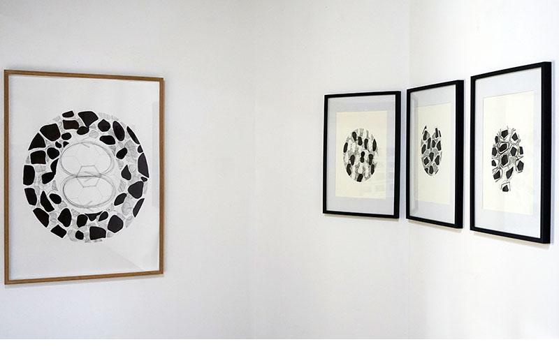 © Martine Mougin, Alvéoles, 2017 dessins encre pencil, 42 x 63 encadré