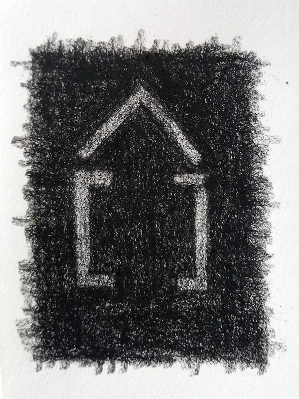 Pascal Brateau, La parenthèse : étude pour un bas relief, pierre noire sur papier