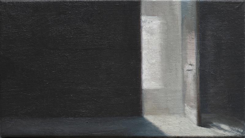 """Rosa Artero, """"Interior N° 8"""". Huile 12 cm x 22 cm. courtesy galerie Camera Obscura"""