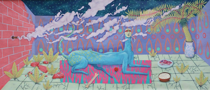 Caroline Dargère, chien bleu, 2020, peinture acrylique, 496x220cm - Residence #64 - Usine Utopik - ©Usine Utopik