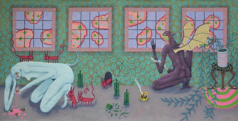 Caroline Dargère, Intérieur, 2020, peinture acrylique, 423x220cm - Residences #64 - Usine Utopik - ©Usine Utopik