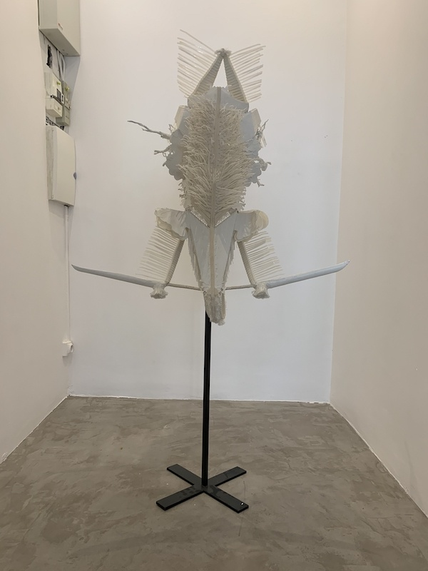 Marie-Luce Nadal, Le Masque de la divinité de la Brume, 2015, Coraux, carton, colson, pompon de rideau, matériaux divers