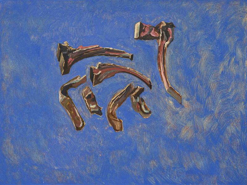 Guy de Malherbe, Reliefs  cotes d'agneau dans le bleu, huile sur toile, 97 x 130 cm, 2020