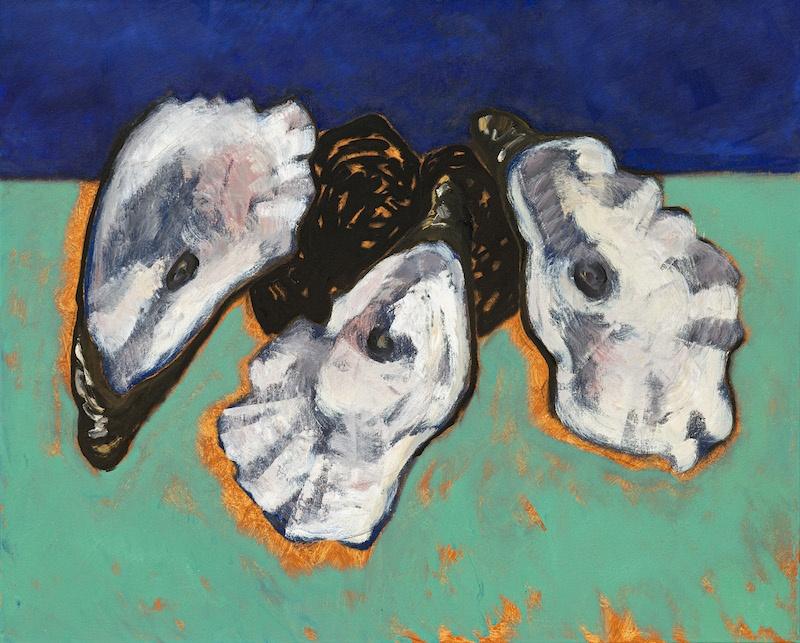 Guy de Malherbe, Reliefs  trois huitres, huile sur toile, 81 x 100 cm, 2020
