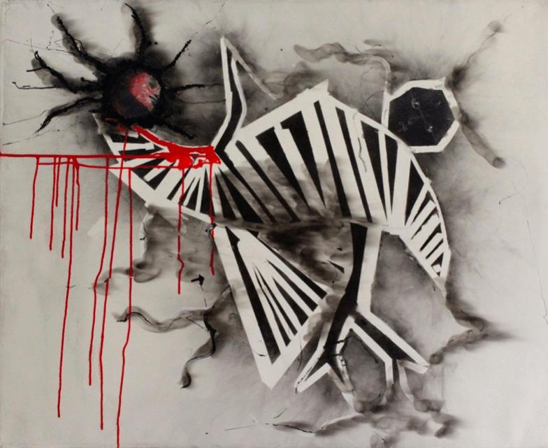 GeraIdine TOBE Ascension, 2012 (Kinshasa) Fumée, acrylique et pochoir, 100 x 80 cm
