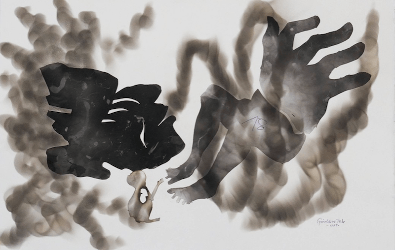 GeraIdine TOBE, Esprit des ancêtres, 2019. Fumée sur papier et collage, 57 x 38,3 cm