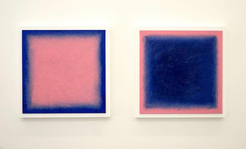 Gwen Hautin Chambre avec vue, série, 2019-2020 Acrylique sur toile, cadre en bois 44 x 44 cm chaque