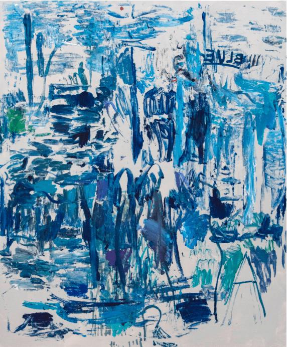 Michaële-Andréa Schatt, Blue, 2020. DétailTechniques mixtes sur toile 180 x 150 cm Courtesy artiste et Galerie Isabelle Gounod