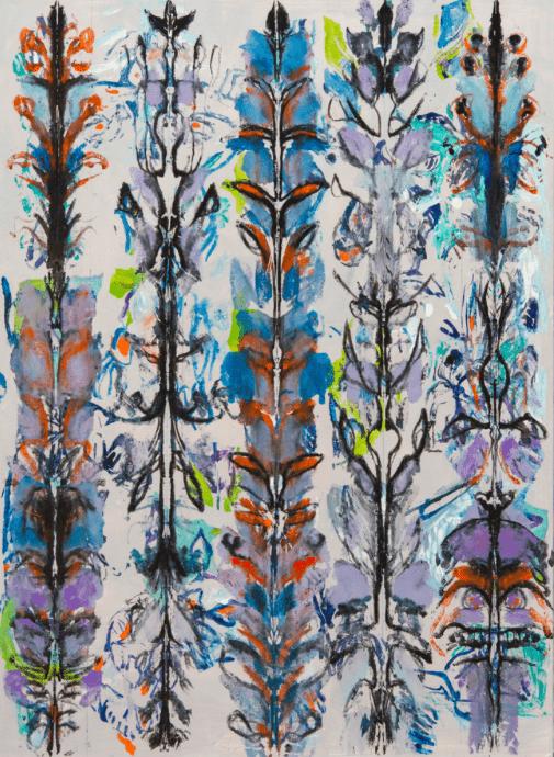 Michaële-Andréa Schatt, Opium Poppies II, 2020 Techniques mixtes sur toile 148 x 108 cm