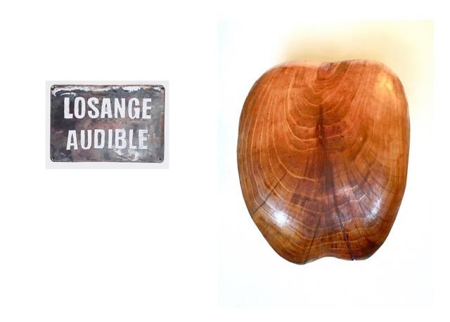 « Losange audible »- 2020 - Valérie Champigny - Anagramme de « La langue de bois » - Sculpture en robinier 60 x 30 cm.