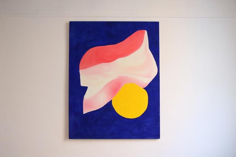 Dynamique du Contre Lisa Ouakil, Le ballon de Nana (soleil), huile sur toile, 116 x 89 cm, 2020, en écho à la nouvelle de F.S Fitzgerald _L_Étrange Histoire de Benjamin Button_