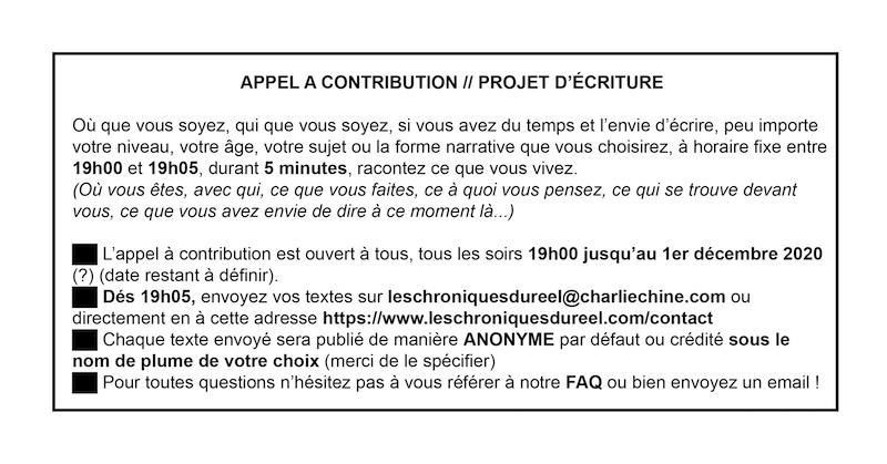 Les Chroniques du Réel, Appel à contribution, version numérique - scan de l'original, Saison II/Phase 2, 2020. © Charlie Chine