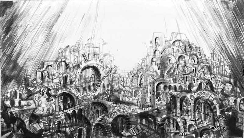 Collectif Ensaders, Babel, le sommet encre de chine sur papier, 50 x 100 cm, 2010