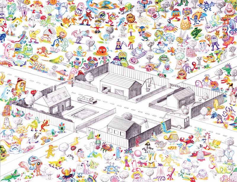 Collectif Ensaders, Les voisins vigilants crayon de couleur sur papier, 50 x 65 cm, 2014