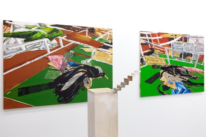 vue de l'exposition « Instructions pour couper les ficelles » avec Gayle Chong Kwan, Gaetano Cunsolo, Léonard Martin, João Vilhena jusqu'au 05 décembre 2020, Galerie Alberta Pane Paris