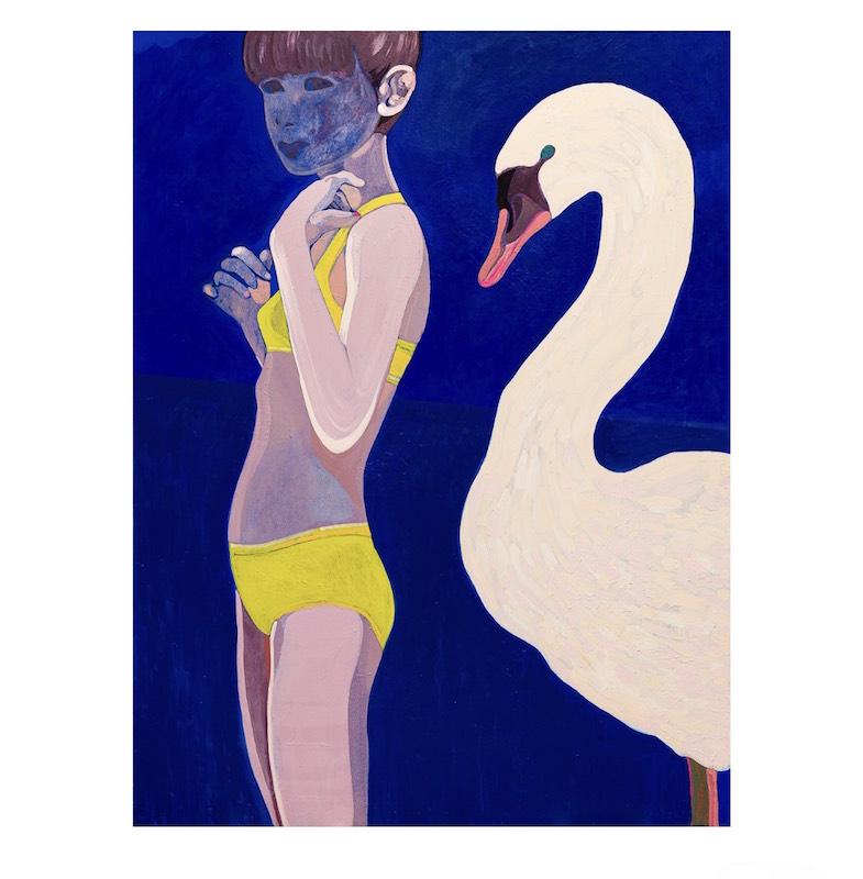 Marcella Barceló, Blue Egg, acrylique sur toile, 2020, 185x130cm Crédit photo Grégory copitet ©Marcella Barceló