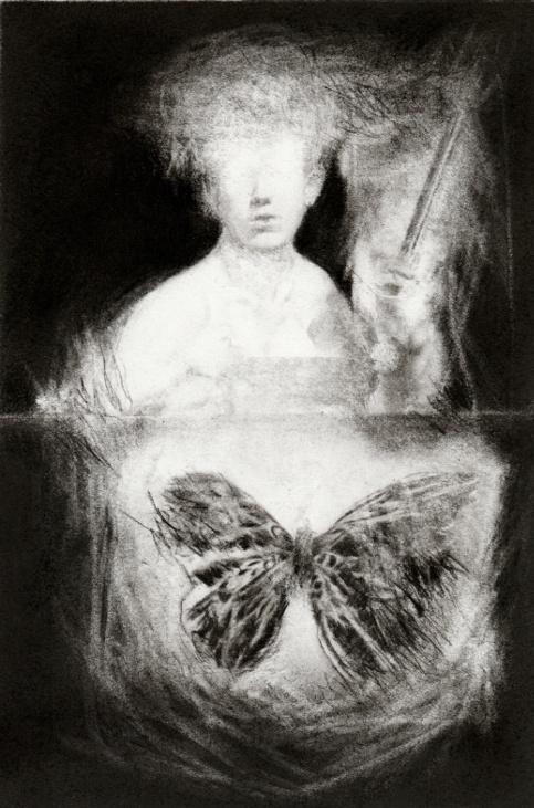 Pierrick Naud, Les limites du cavalier - Sans titre 17 - Fusain sur papier - 30x21 cm - 2020