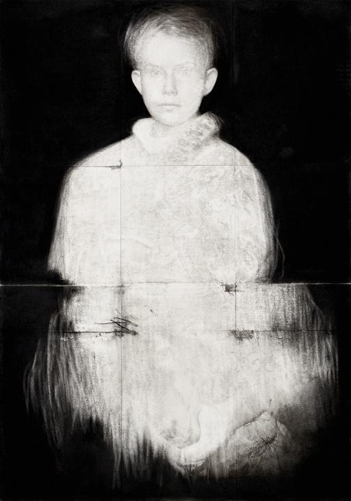 Pierrick Naud, Les limites du cavalier - sans titre 19 - Fusain sur papier -  80 x 57 cm - 2020
