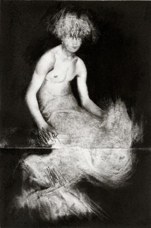 Pierrick Naud, Les limites du cavalier - Sans titre 2 - Fusain sur papier - 30x21 cm - 2020