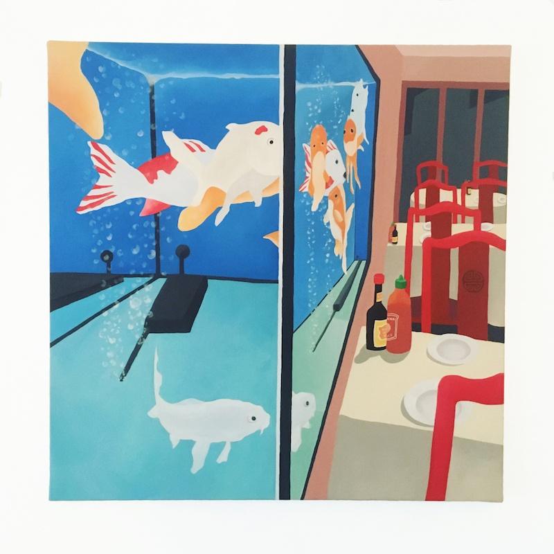 Sophie Deltombe, Le Pacifique, acrylique sur toile, 2020