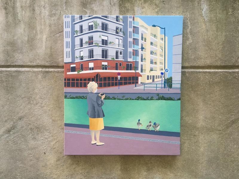 Sophie Deltombe, Les canard, acrylique sur toile, 2020