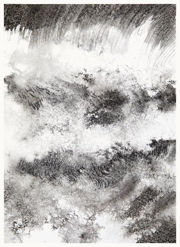 Yann Bagot, Pointe du Grouin #37, 2019. Encre de chine sur papier, 31,5 x 22,5 cm