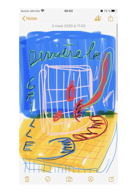 """Margaux Henry-Thieullent, """"Derrière la grille"""", dessin numérique, 2020"""