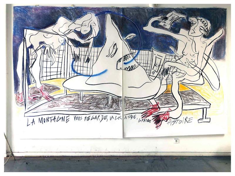 """Margaux Henry-Thieullent, """"La Montage vous regarde, la grande grande Histoire"""", dessin sur papier, 2020"""