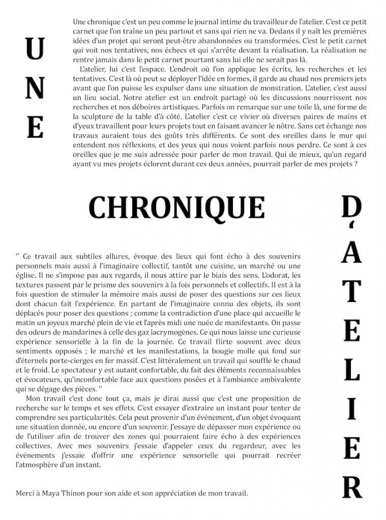 Alexandrine Trolé Chronique d'atelier isdaT