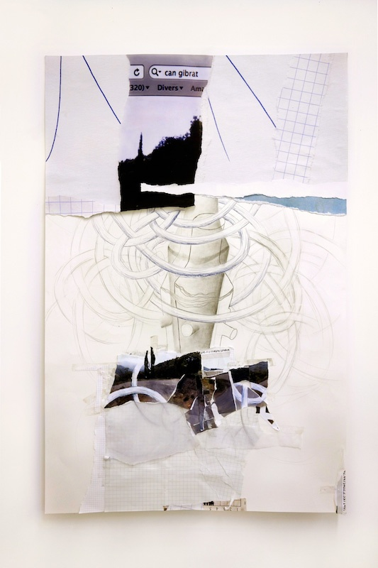 """Danièle Gibrat, """"horitzó: tarot du jour, le bâton""""- dessin et collage (papier, photo, stylo-bille, calque), 120x80cm, 2020"""