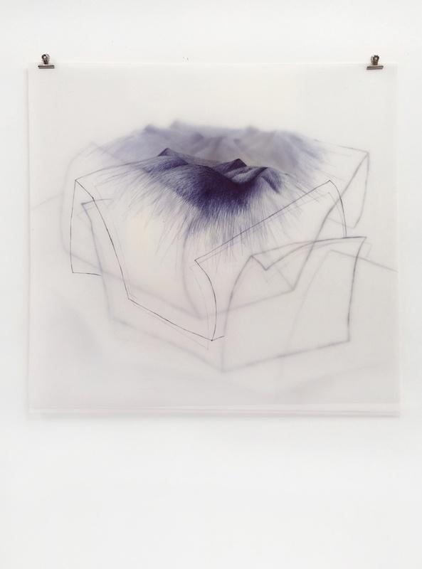 """Danièle Gibrat, """"horitzó: le papier"""" - stylo-bille sur trois feuilles de calque polyester, pinces, 90x90cm, 2017"""