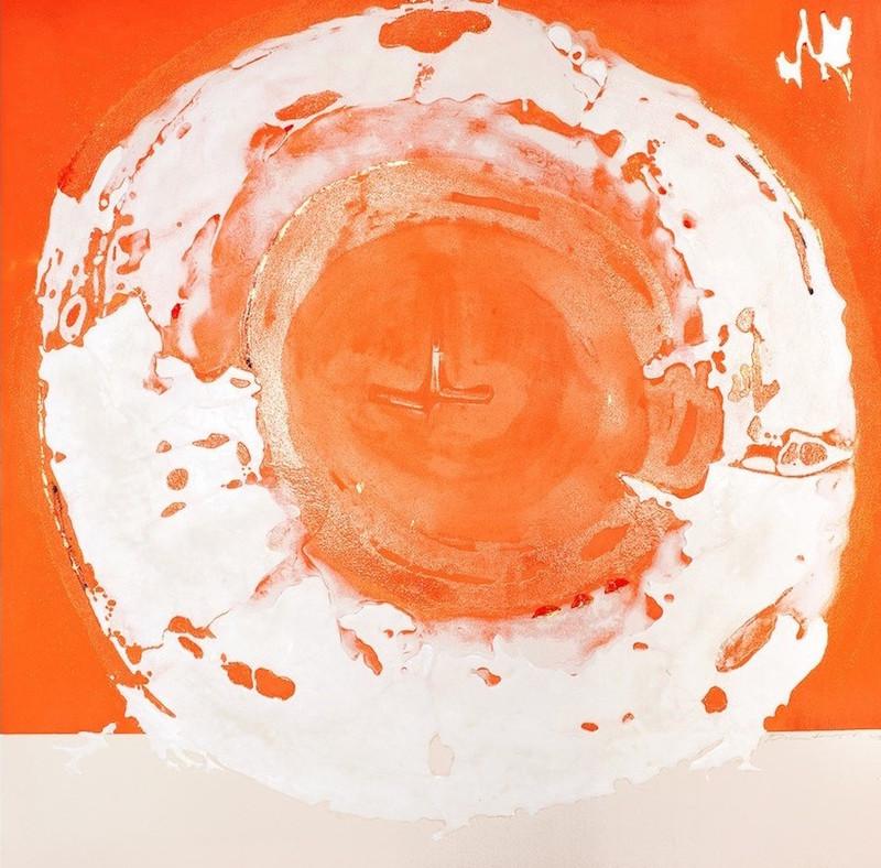 Pascal Pilate, Vingt couleurs, 2020, 190 x 190 cm, technique mixte – pigment, cristal de roche, micro billes, or Versailles 23 carats