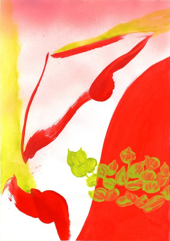 Diane Chéry, Série Au Balcon 3, 2020, acrylique sur papier, 29,7x42cm