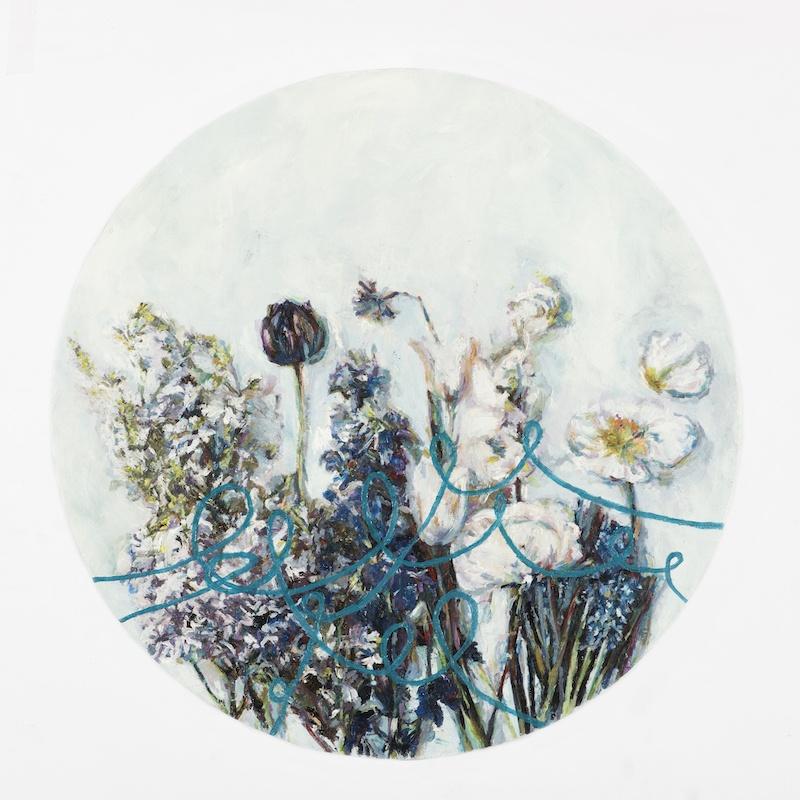 Evalie Wagner, PRINTEMPS, 2016, oil, paper, woodpanel, Ø 38 cm