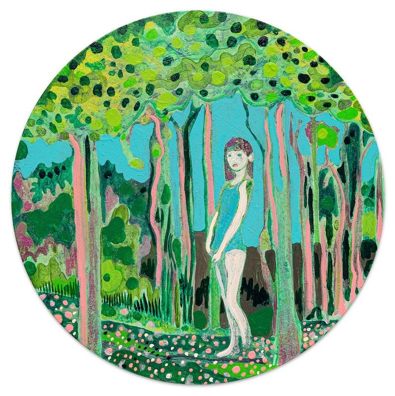 Marcella Barcelo, Hide and seek, 2020, acrylique sur toile, Ø40cm Photo © Gregory Copitet