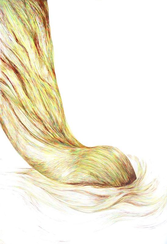 Filomena Borecka, prUNIKr « Influence » dessin à l'encre et peinture fluorescente et crayon Koh-i-Noor, (118 x 80 cm)