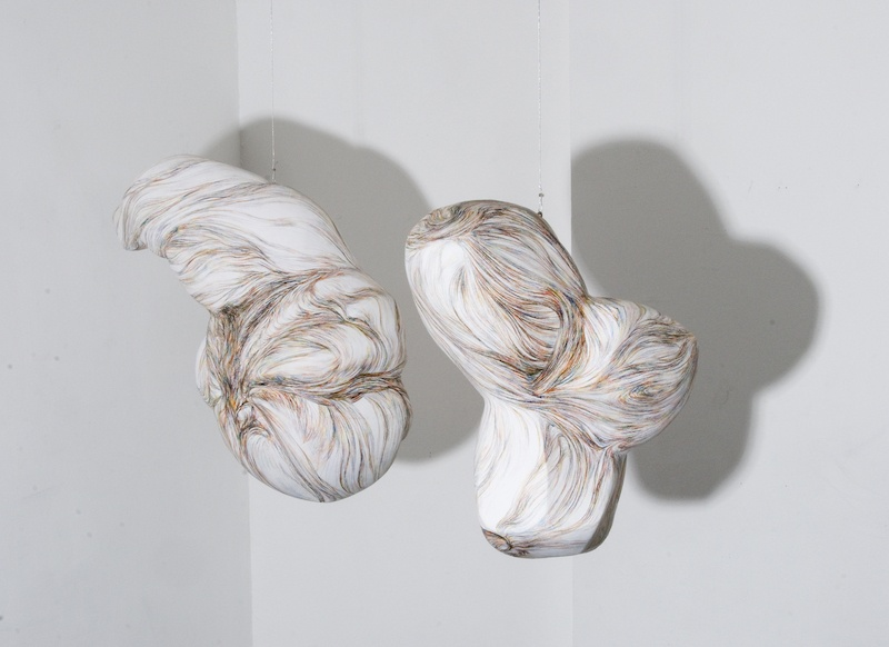 Filomena Borecka, « Mysterium Conjunctionis II »  dessins tridimensionnels, polystyrène enduit et stratifié en papier de soie, dessin au crayon couleur, deux petits moteurs attachés au plafond (70x70x40 cm) (60x40x30 cm) Paris, 2010