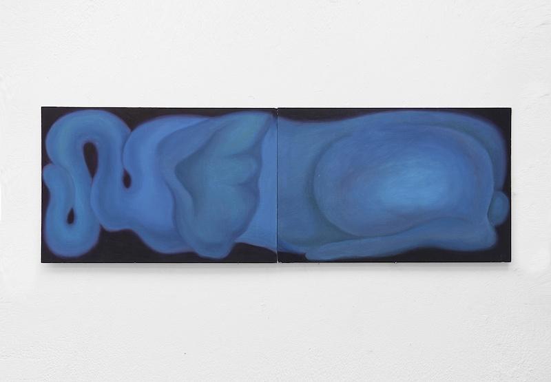 Hao Shuo, LA PINE ET LES FENTES peinture à l'huile sur bois, 40cm x 120cm, 2020