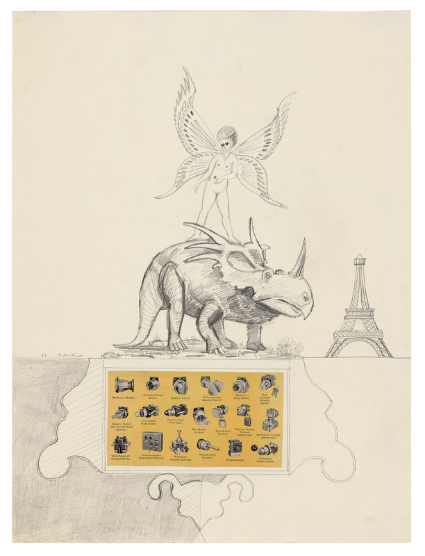 Robert Smithson Paris in the Spring, 1963 Pencil with collage on paper 20 x 14 in. (50.8 x 35.6 cm) (24215/M) ©Holt/Smithson Foundation, Licensed by VAGA at ARS, New York Courtesy the artist and Marian Goodman Gallery New York, Paris and London