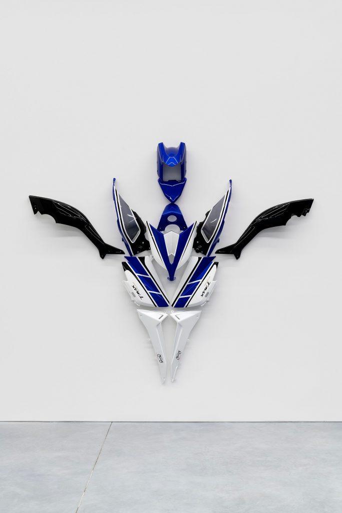 Julien Boudet Super T-MAX, 2021 Disassembled motorcycle parts 215 x 255 x 36 cm