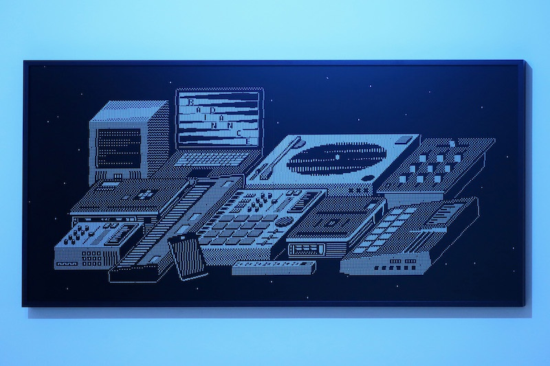 Nicolas Sassoon, The Prophets (TENA), 2020, LCD screen, Volcanic rock, electronics, aluminum, ABS, 50x32x122cm