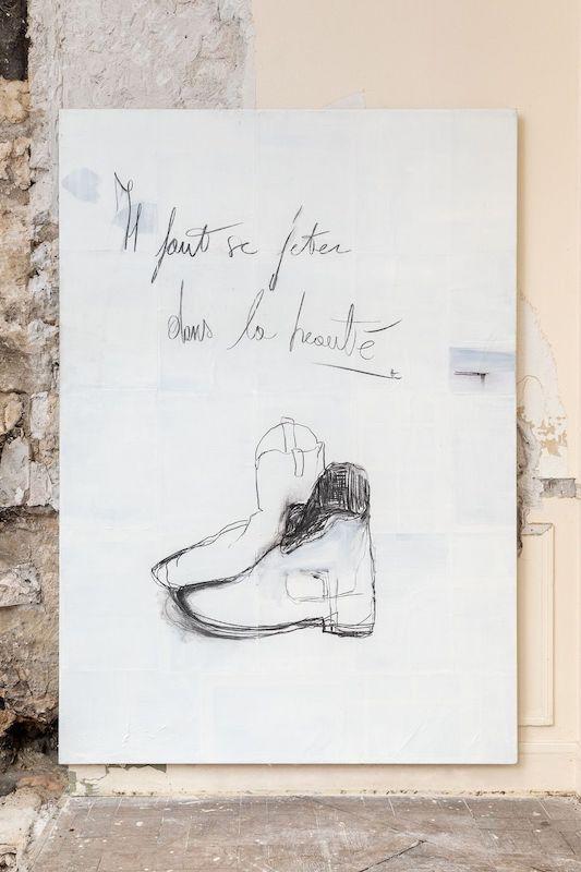 Sébastien Bonin, Autoportrait ou il faut mériter l'univers, 2019, oil on canvas, 200 x 140 cm