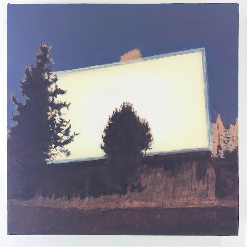 Jean-Charles Eustache, The mind's Ey, 2021, acrylique sur bois, 20 x 20 x 3 cm_courtesy galerie Claire Gastaud