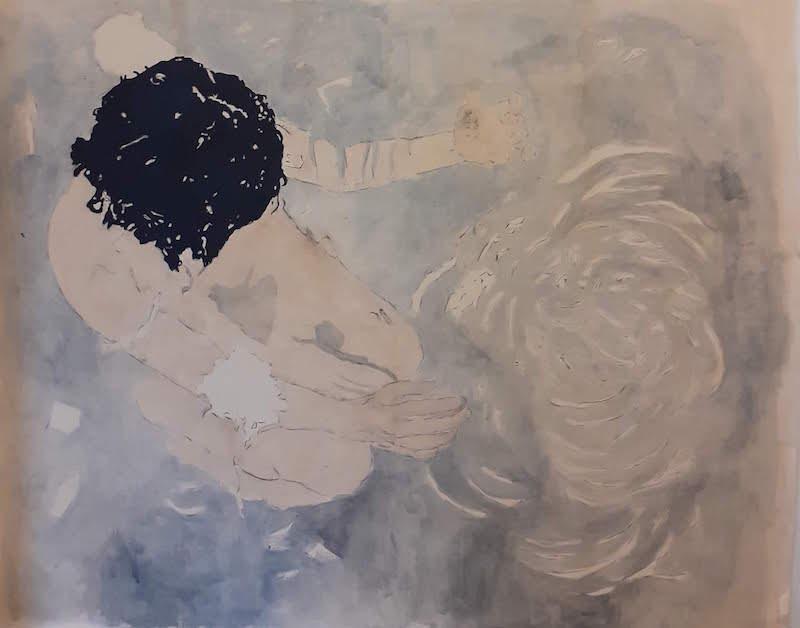 Juliette Lemontey, Le miroir des abimes, 2019, huile fusain et acrylique sur toile, 162x195 cm