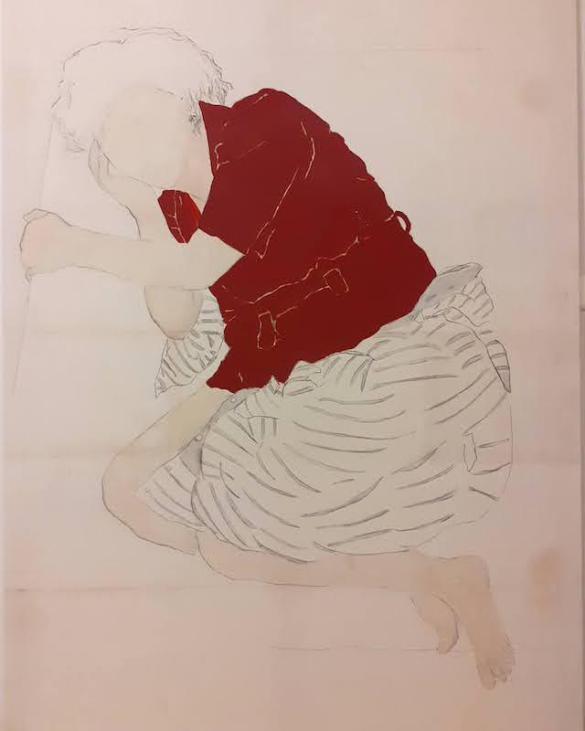 Juliette Lemontey, Ophélie 2020 huile fusain et gouache sur toile 195X130 cm